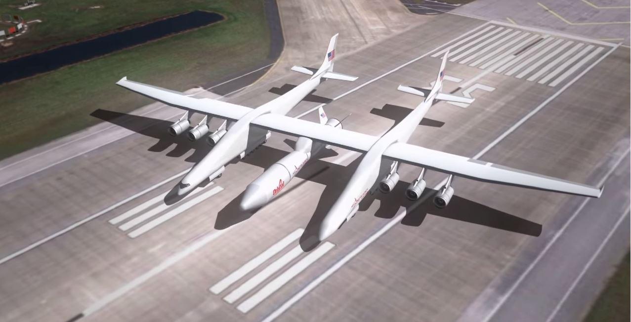 Das größte flugzeug der welt befördert dinge ins all