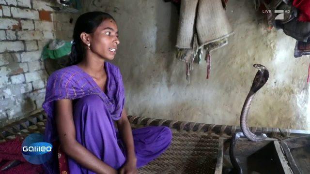 Kobra-Mädchen in Indien