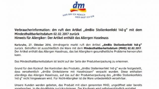 dm ruft dieses Produkt deutschlandweit zurück