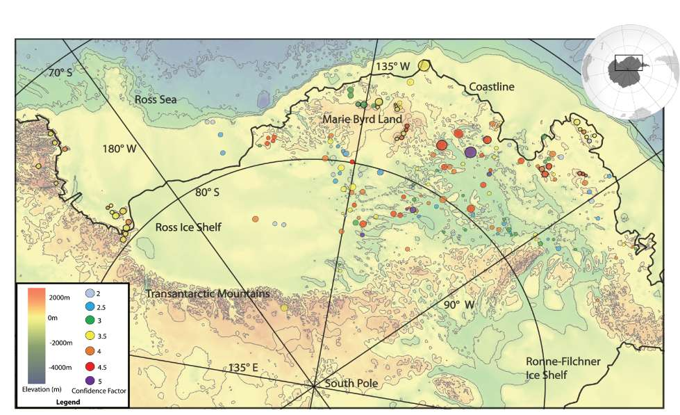 Vulkane Der Erde Karte.Forscher Entdecken Fast Einhundert Neue Vulkane Unter Der Antarktis