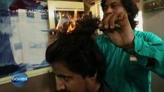 Diese Friseure arbeiten mit Feuer, statt Schere
