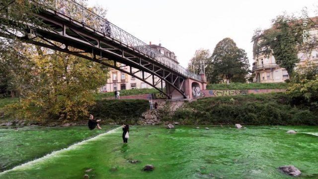 Polizei rätselt: Fluss in Freiburg hat sich grün verfärbt
