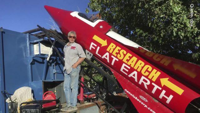 Ein Typ aus den USA schießt sich diesen Samstag mit einer selbst gebastelten Rakete ins Weltall - um zu beweisen, dass die Erde eine Scheibe ist