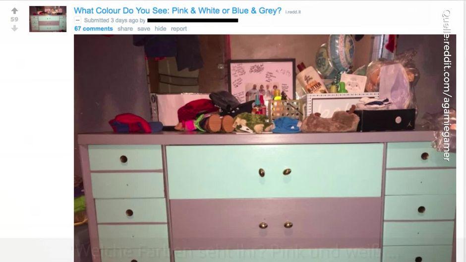 Pink und weiß - oder blau und grau? Welche Farbe hat diese Kommode?