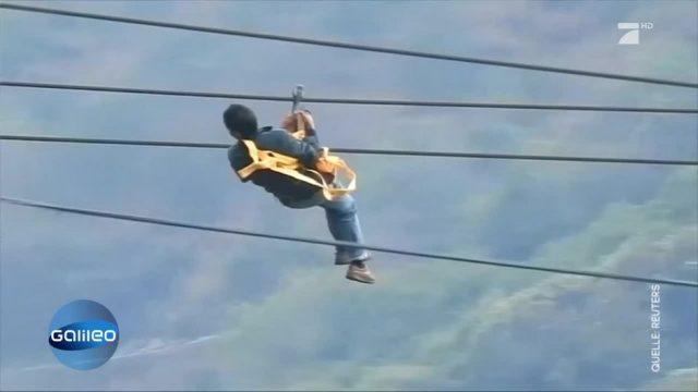 Auf diese Seilrutsche sind die Menschen in China angewiesen