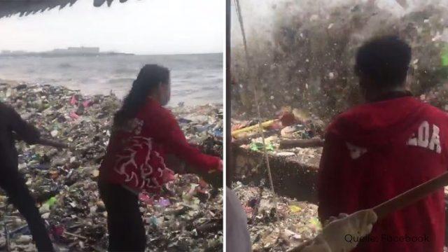Krasse Aufnahmen: Eine Welle aus Müll bricht hier über das Ufer