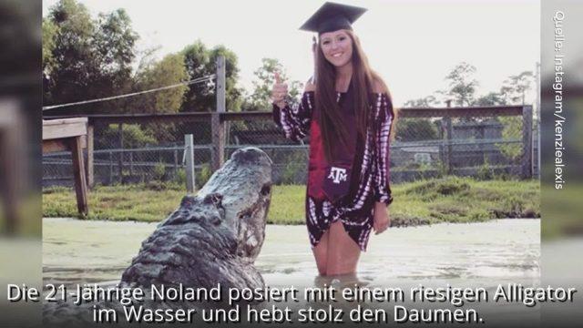 Studentin steigt zu riesigem Alligator ins Wasser: Die Bilder dieser jungen Frau gehen um die Welt