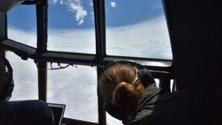 Auge des Hurrikans aus dem Flugzeug