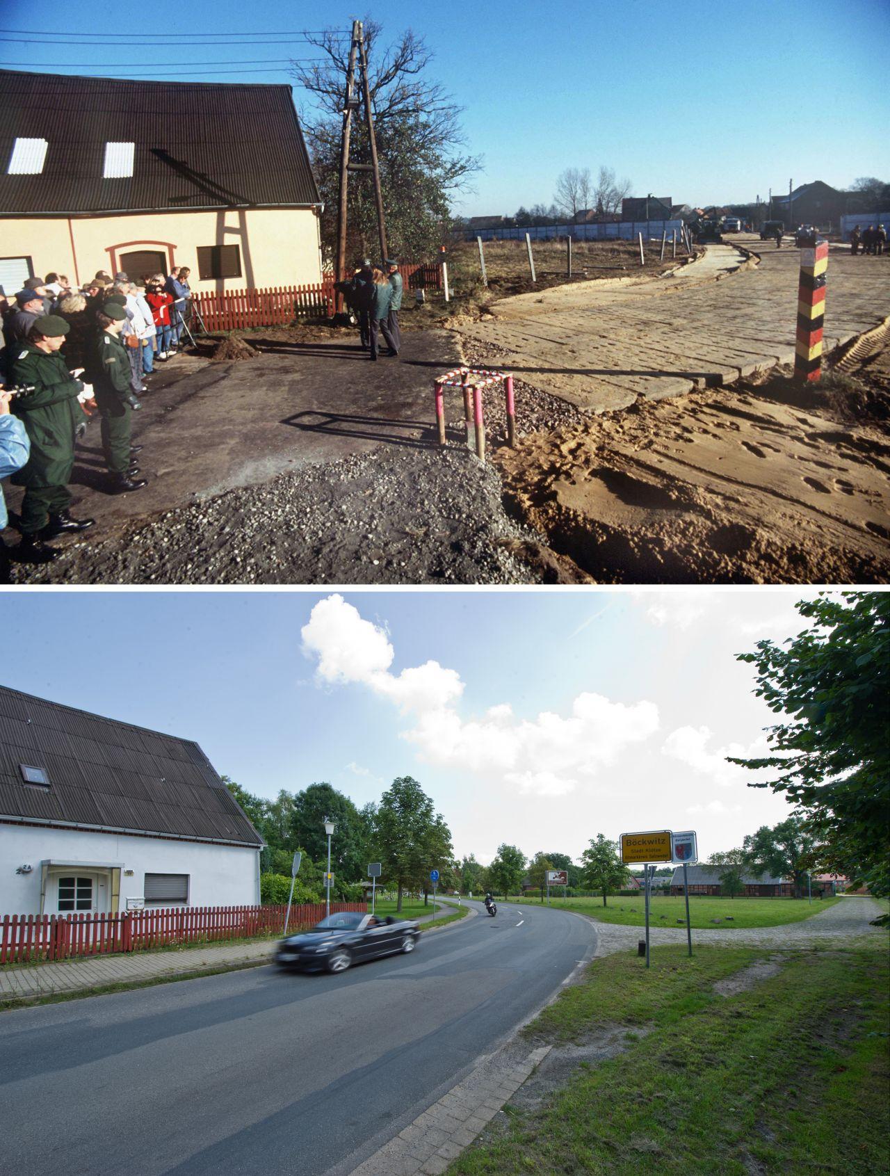 Oben: Die Gründung der DDR riss das Doppeldorf Zicherie-Böckwitz auseinander. Zicherie gehörte zur BRD, Böckwitz zur DDR. Unten: Wo einst die Grenze war, ist heute eine Straße.
