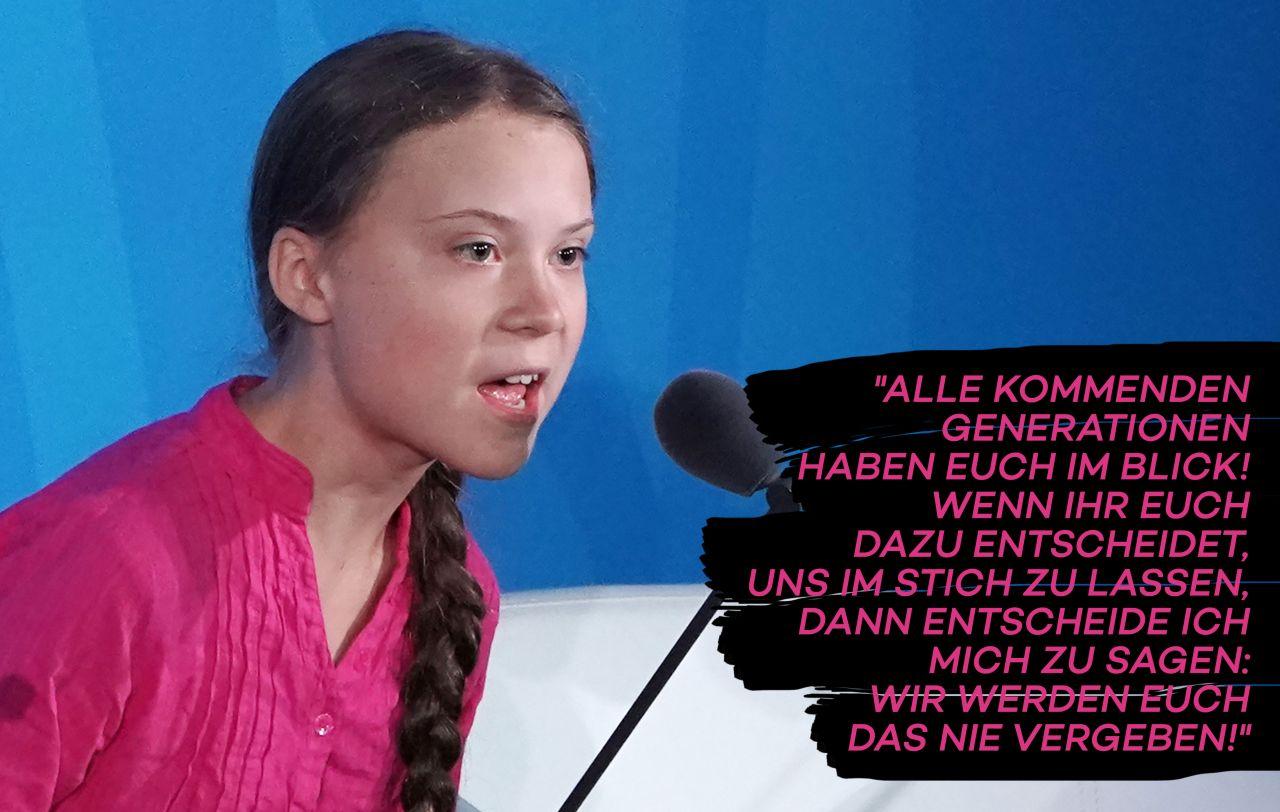 Greta Thunberg während ihrer dramatischen Rede vor der UN