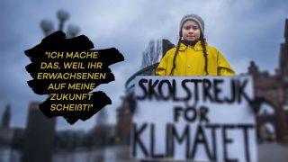 Greta Thunberg mit Plakat