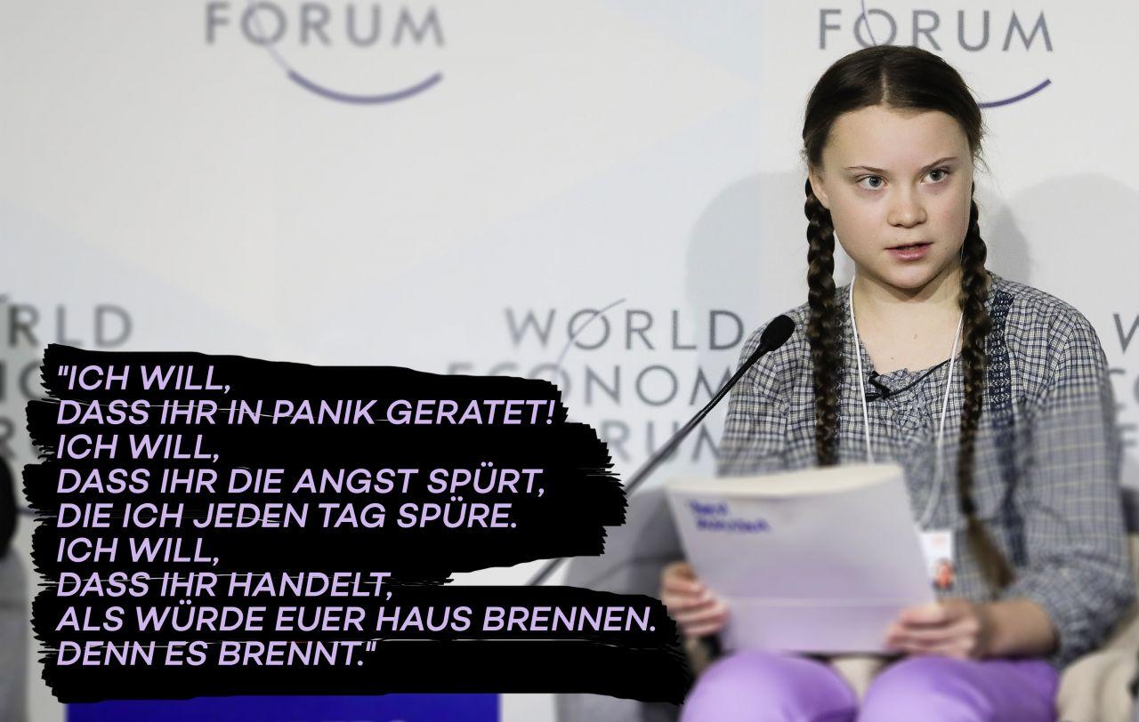 Greta Thunberg bei einer Podiumsdiskussion in Davos