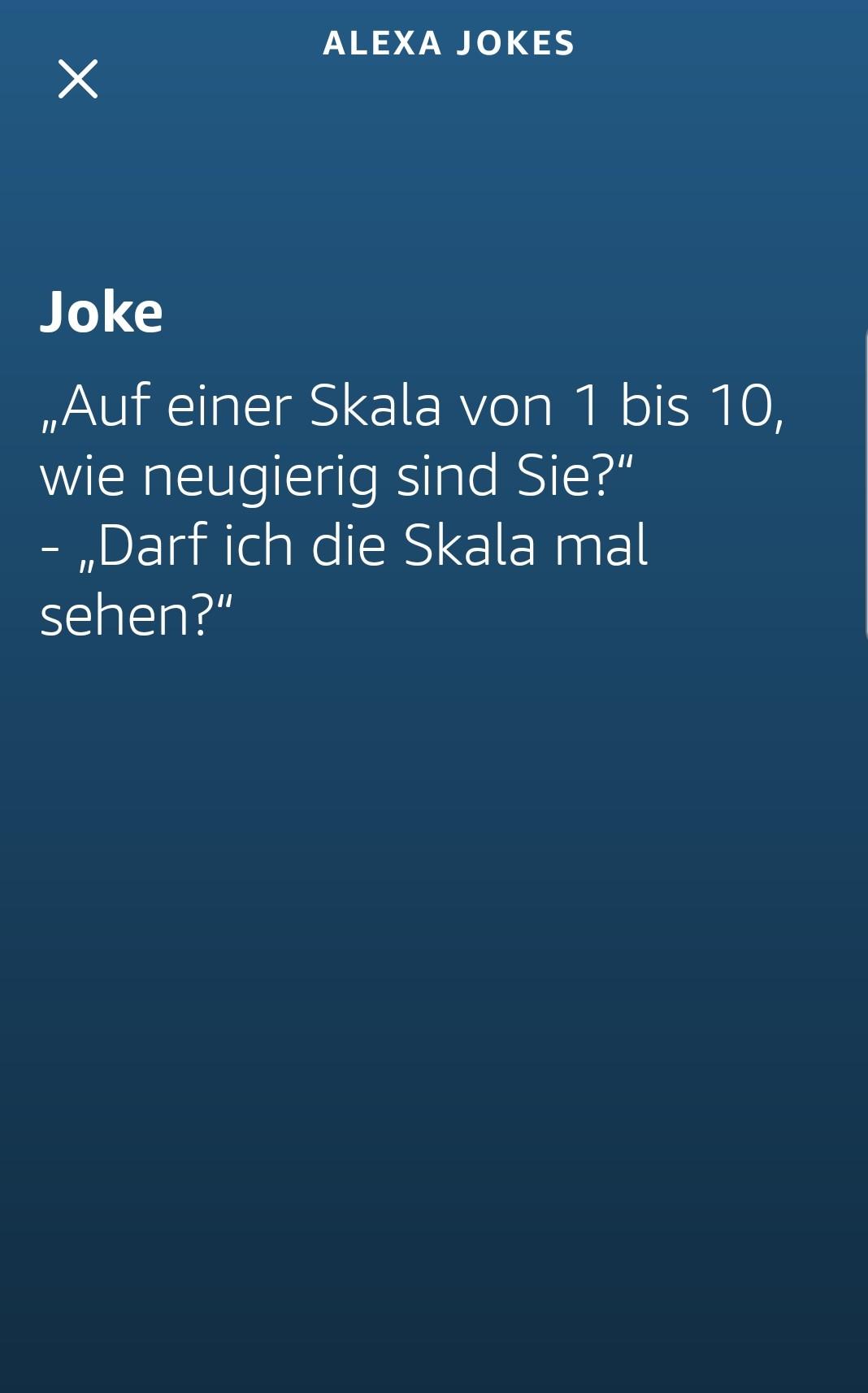 Alexa erzählt einen Witz.