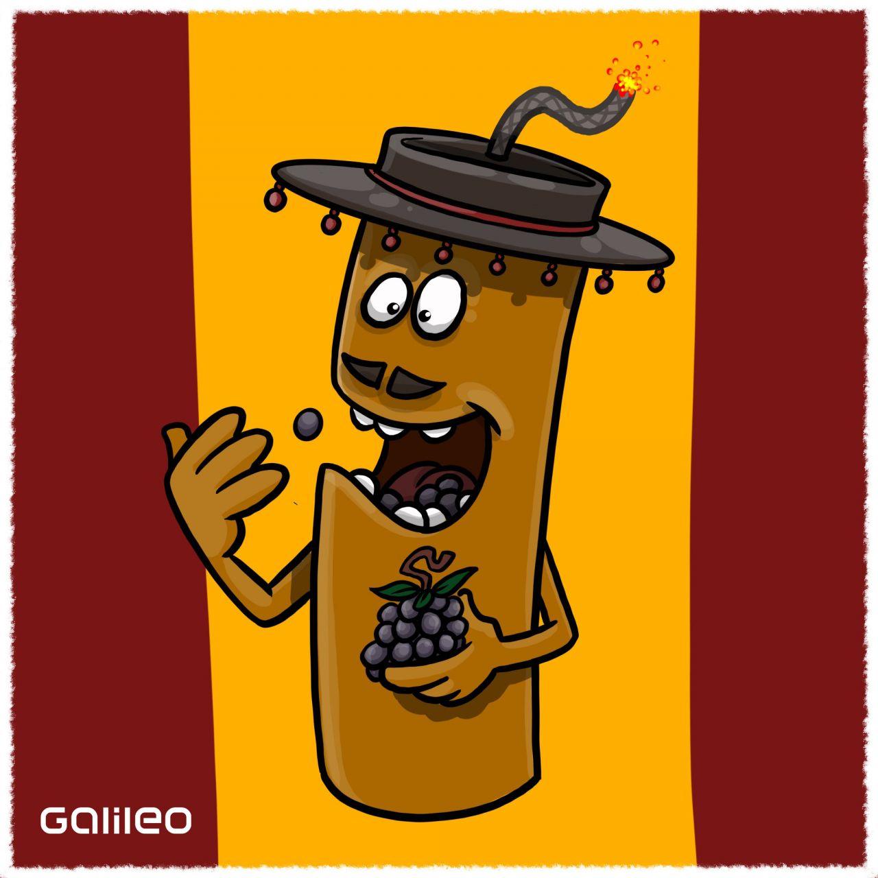 Spanien: Punkt Mitternacht - jetzt geht es in Spanien Schlag auf Schlag. Mit jedem Glockenschlag wird eine Weintraube vertilgt. Alle 12 Trauben in den Backen verstaut, wenn die Kirche verstummt? Dann ist dir das Glück im neuen Jahr sicher.