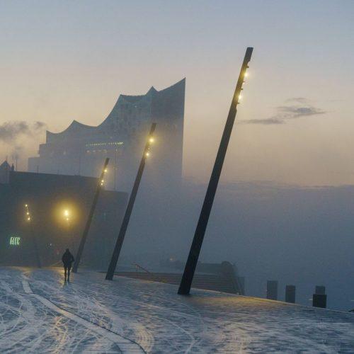 Wintersonnenwende in Hamburg am Hafen
