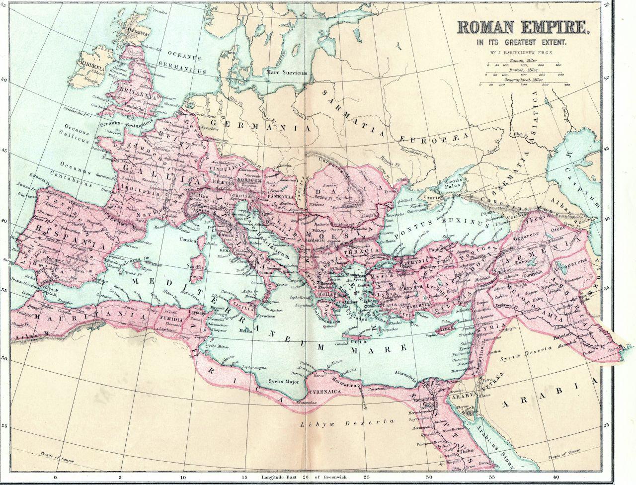 Landkarte Römisches Reich. Provinzen