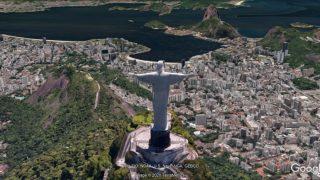 Die Jesus-Statue von Rio de Janeiro blickt als 3-D-Simulation auf Rio.