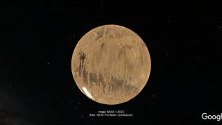 Der Mars schwebt im Weltall..