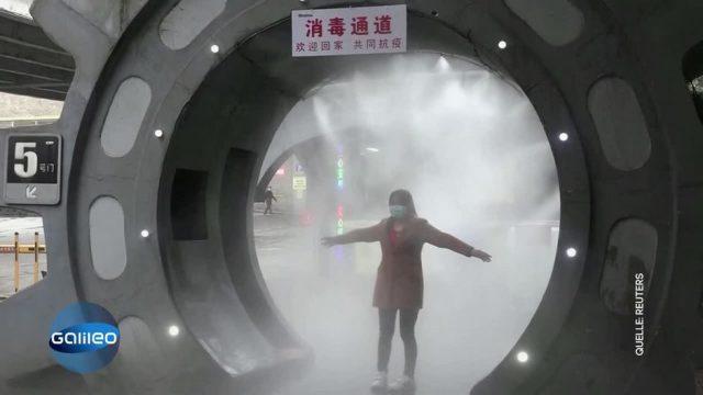 Im Kampf gegen Corona: Erste Desinfektionsdusche in China