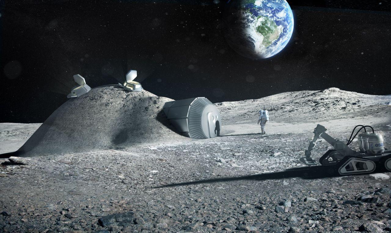 Visionelle Mondhäuser auf dem Mond