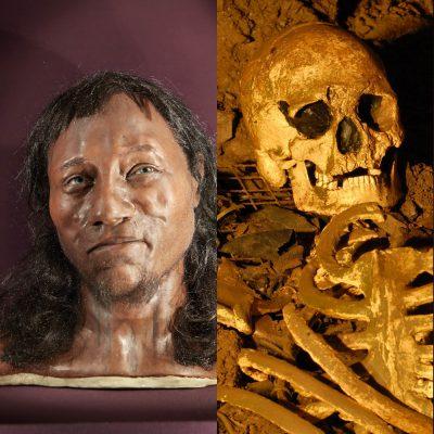Cheddar Man - rekonstruiertes Gesicht mit dunkler Haut und blauen Augen.