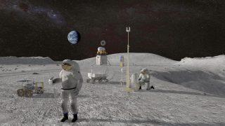 Astronauten ohne Mondmobil