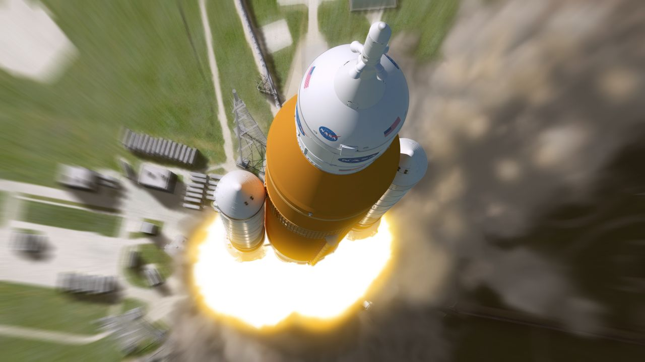 Rakete startet ins Weltall