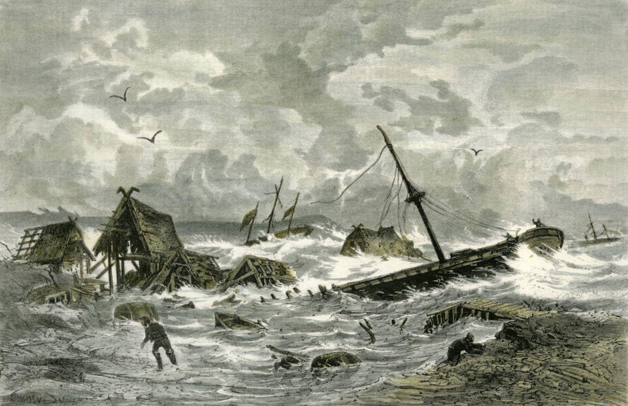 Ein Holzstich von 1872 zeigt die verheerenden Folgen einer Sturmflut.