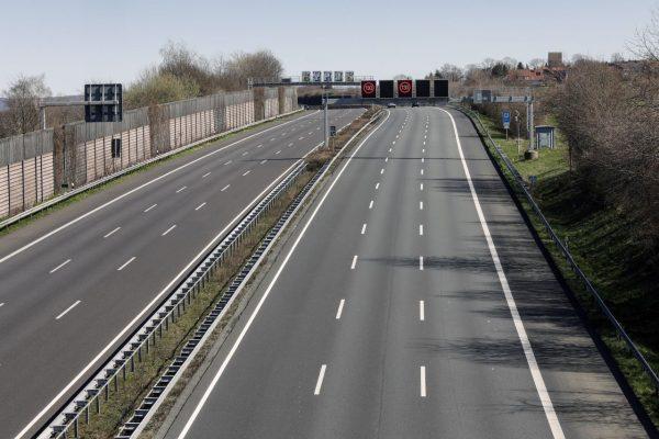 Der Verkehr auf der sonst stark befahrenen A2 ist stark zurück gegangen