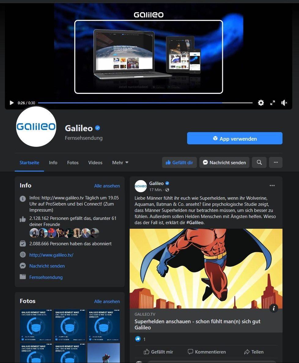 Facebook kann dunkel: So sieht die Galileo-Seite im Dunkelmodus aus.