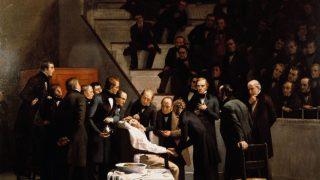 Ein Gemälde zeigt die erste medizinische Narkose.