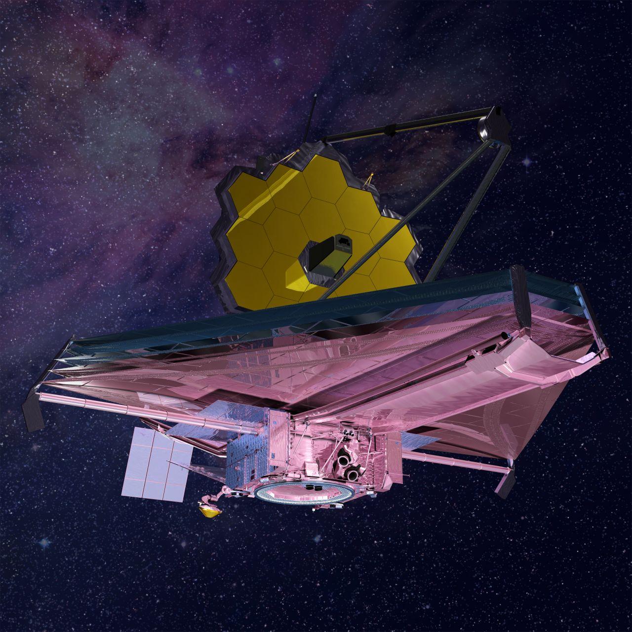 3D Animation vom James Webb Space Telescope im Weltraum.
