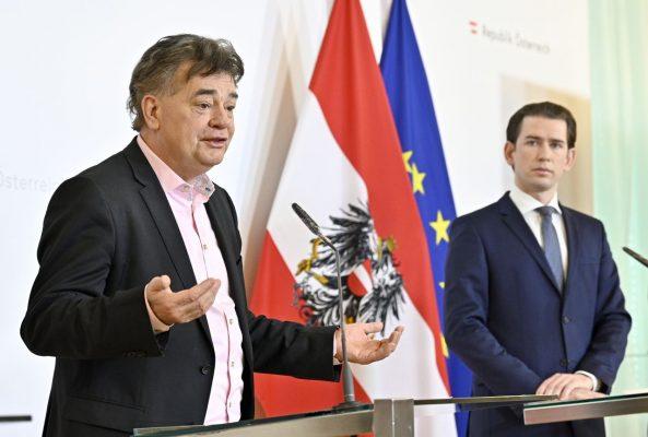 Werner Kogler und im Hintergrund Sebastian Kurz