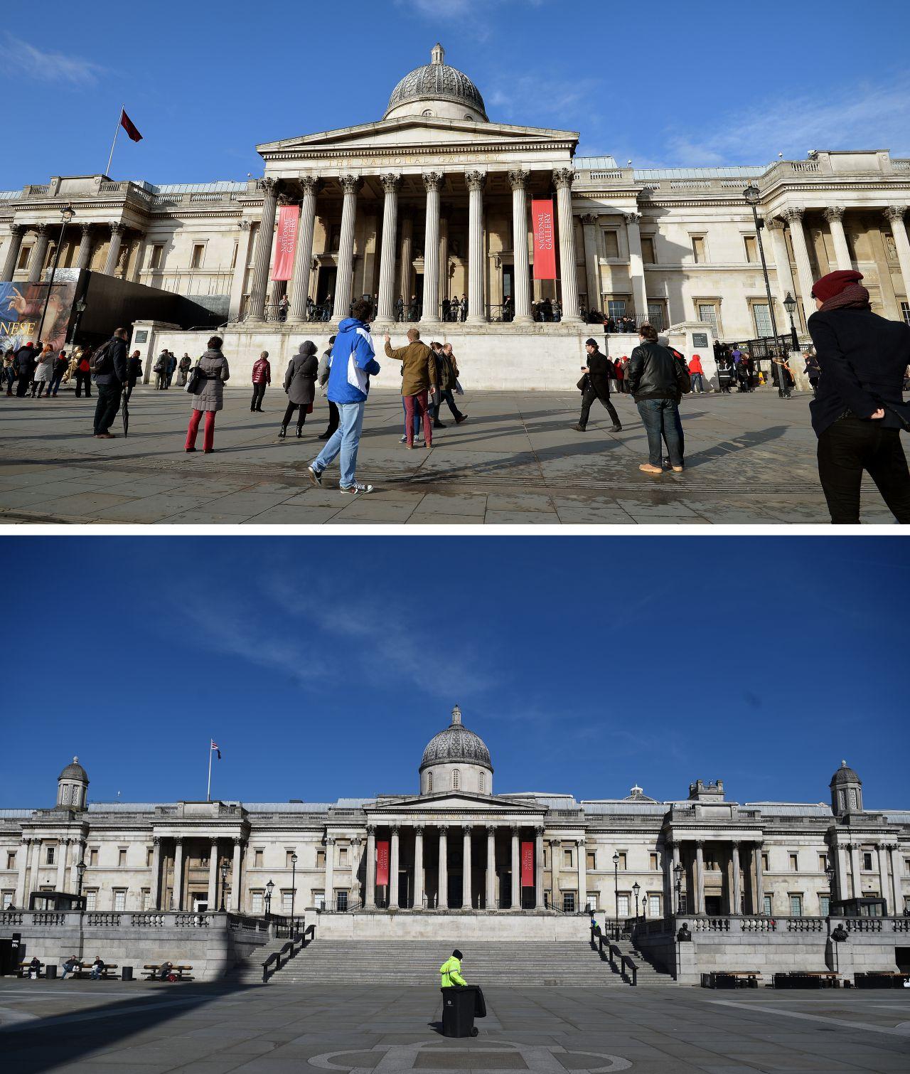 Leere vor der Londoner National Gallery. Eigentlich ist das Kunstmuseum eines der meistbesuchtesten Museen der Welt.