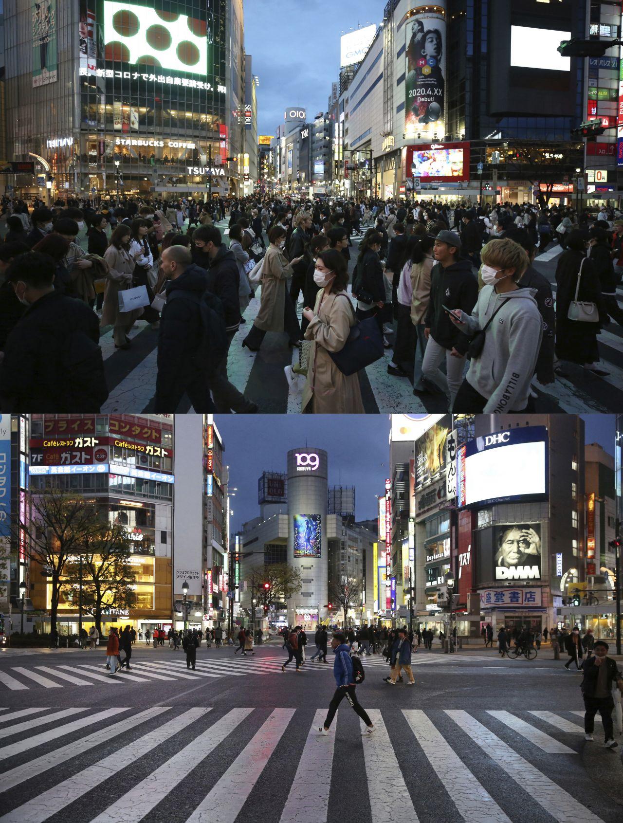 Deutlich weniger Fußgänger als gewöhnlich gehen in Corona-Zeiten über die Shibuya-Kreuzung.