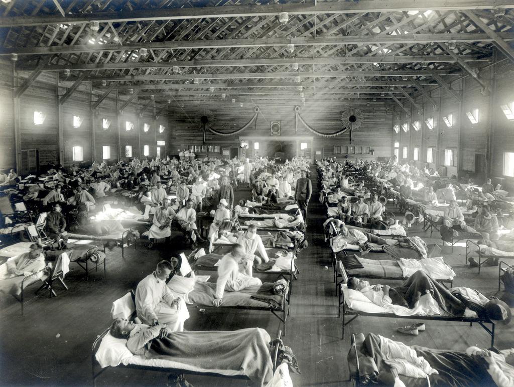 Patienten, die an der Spanischen Grippe erkrankt sind, in Kansas (USA)