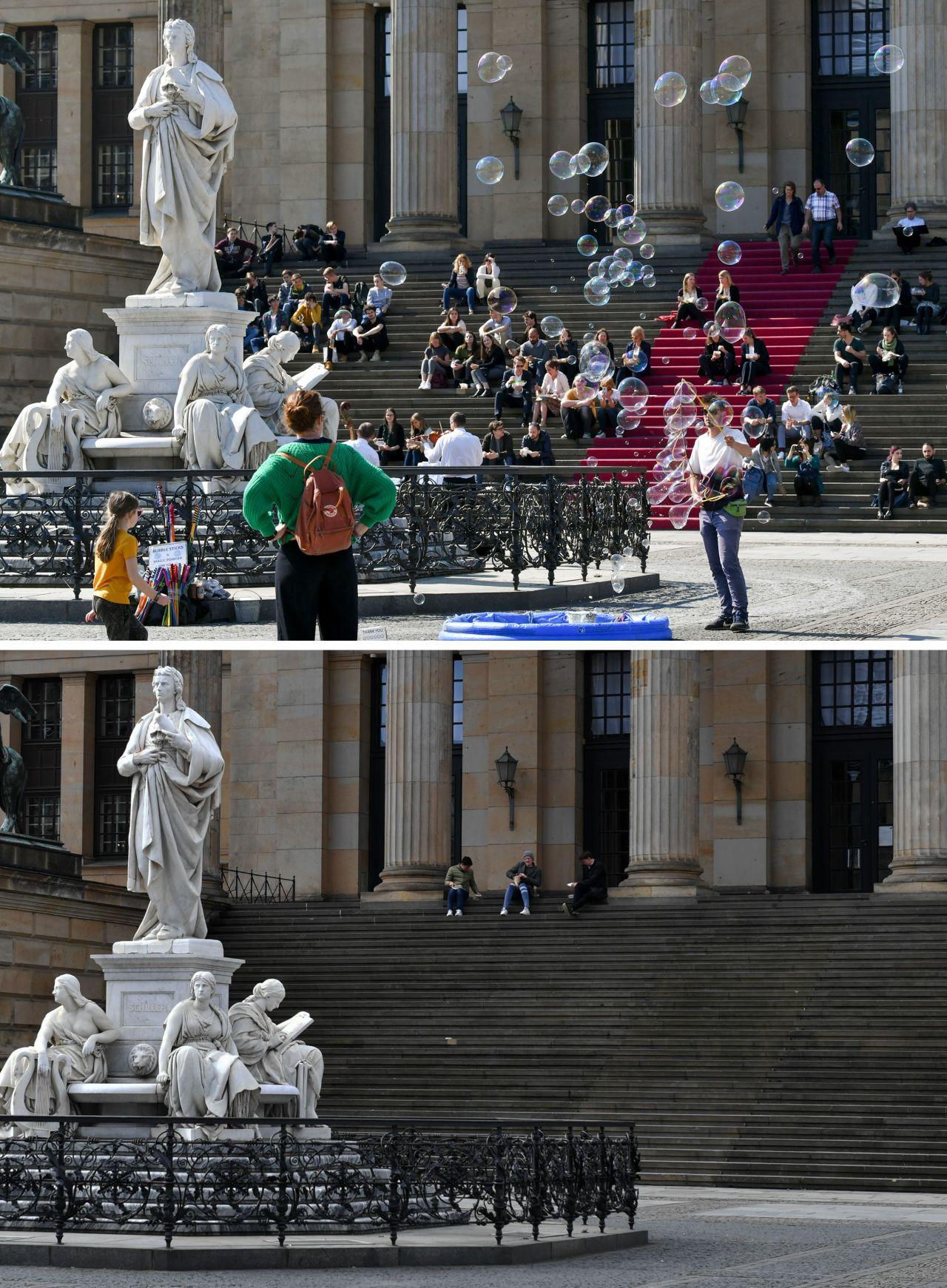 Am Schiller-Denkmal auf dem Gendarmenmarkt in Berlin war vor einem Jahr viel los. Heute ist er fast leer.