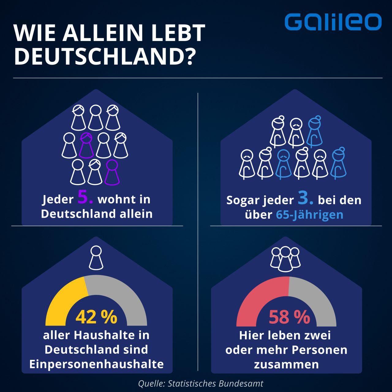 Anteil der Menschen, die in Deutschland alleine leben.