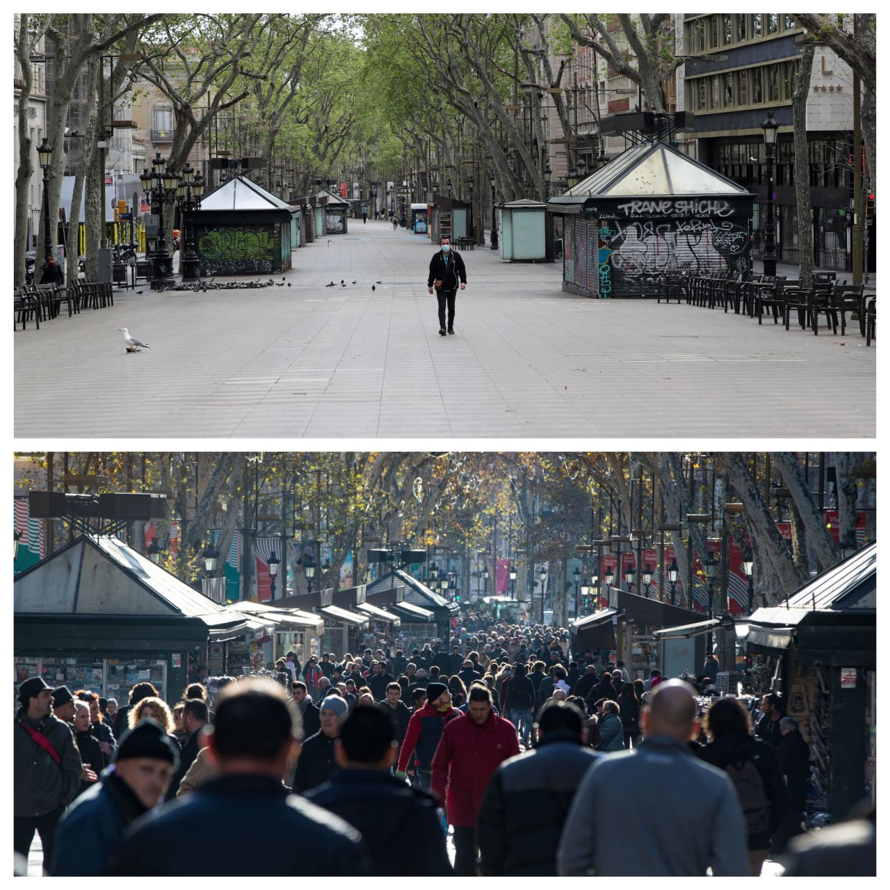 Die berühmte Las Ramblas in Barcelona erstreckt sich über etwa 1,2 km vom Hafen Port Vells zum Placa Catalunya und ist sowohl bei Touristen als auch bei Einwohnern sehr beliebt.