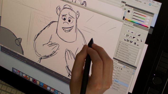 Animator zeichnet Konzeptzeichnung für Animationsfilm