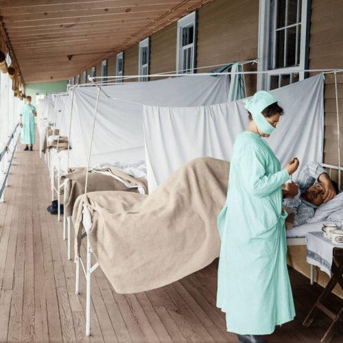 Krankenhaus während der Spanischen Grippe