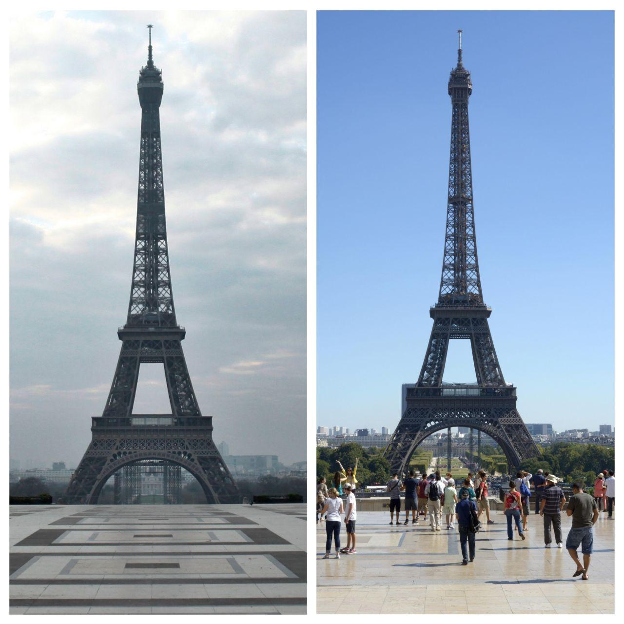 Ein menschenleerer Trocadero-Platz vor dem Eiffelturm im Vergleich zum Normalzustand.