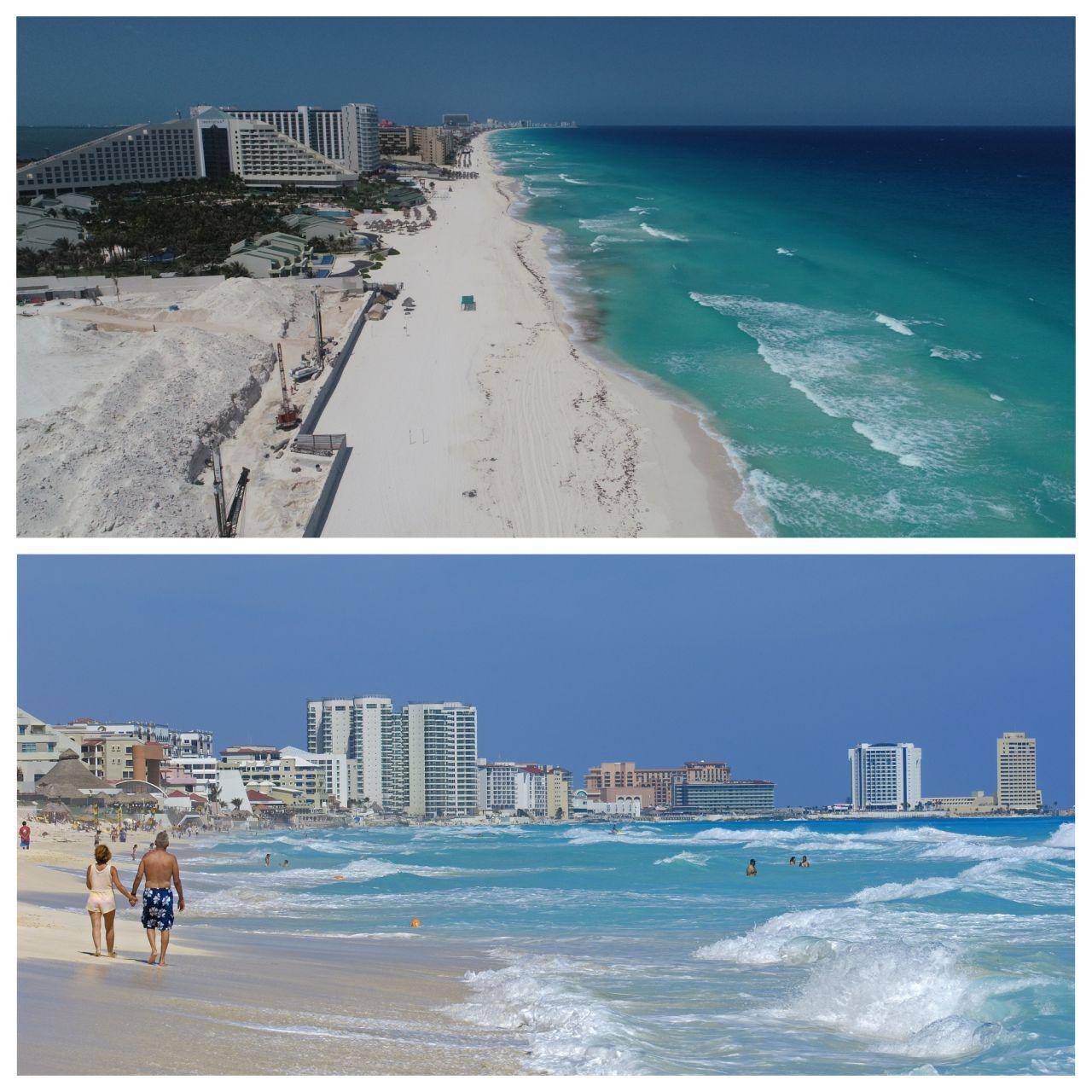 Das Luftbild zeigt einen leeren Strand in Cancun. Auch in Mexiko wurde die Bevölkerung dazu aufgerufen, möglichst zu Hause zu bleiben.