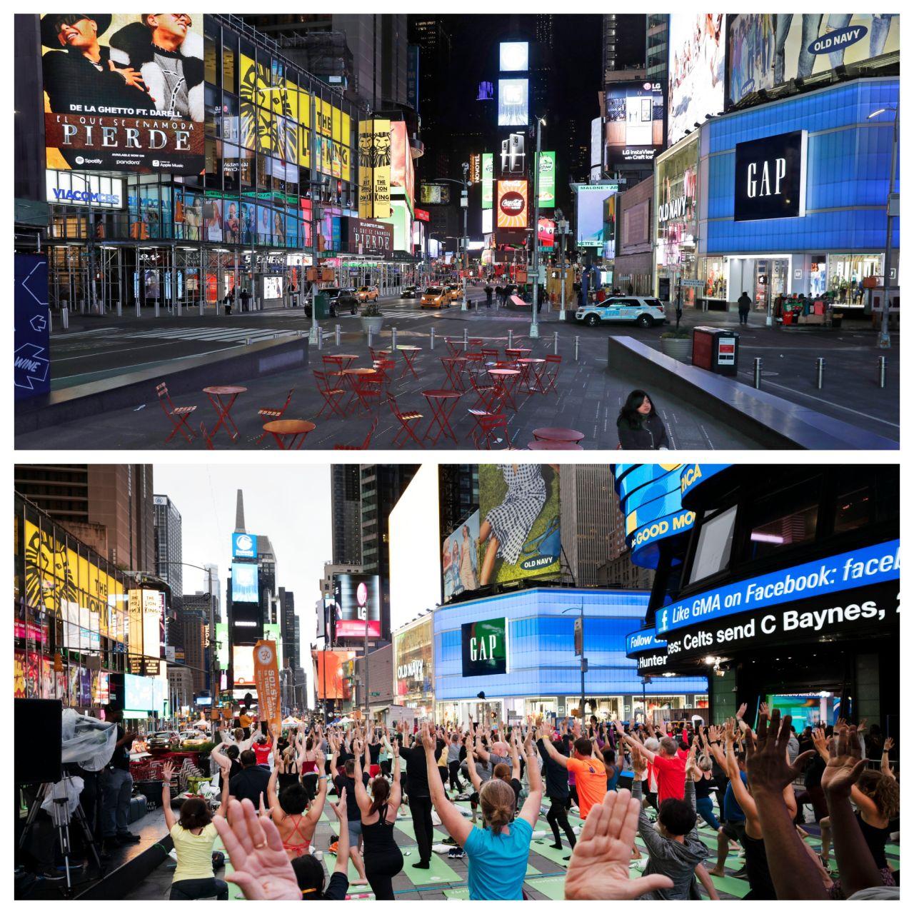 Statt Yoga mitten im Trubel des New Yorker Times Square ist dort aktuell kaum jemand unterwegs.