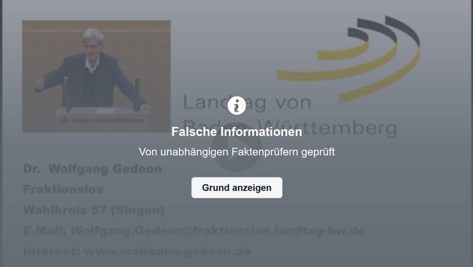 So sieht ein Faktencheck auf Facebook aus. In dem Fall wurden Aussagen des Ex-AfD-Politikers Wolfgang Gedeon über das Corona-Virus als falsch bewertet.