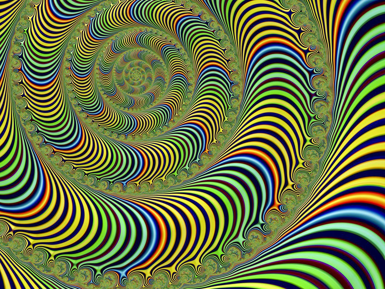 Das Spiralbild zeigt psychedelische Kunst.