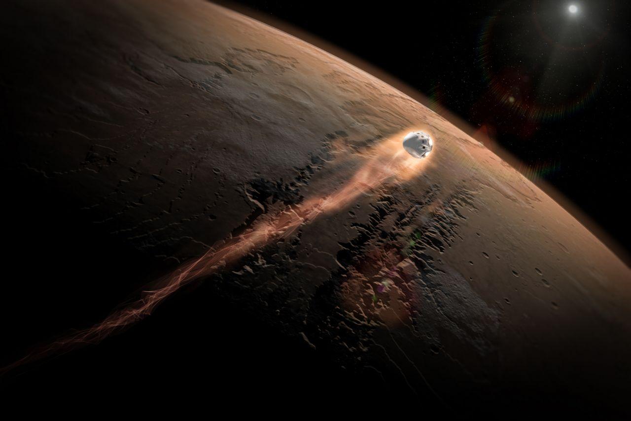 Der Red Dragon tritt in die Mars-Atmosphäre ein