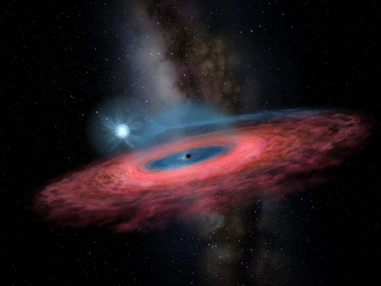 Dieses Foto zeigt die künstlerische Darstellung eines Schwarzen Lochs