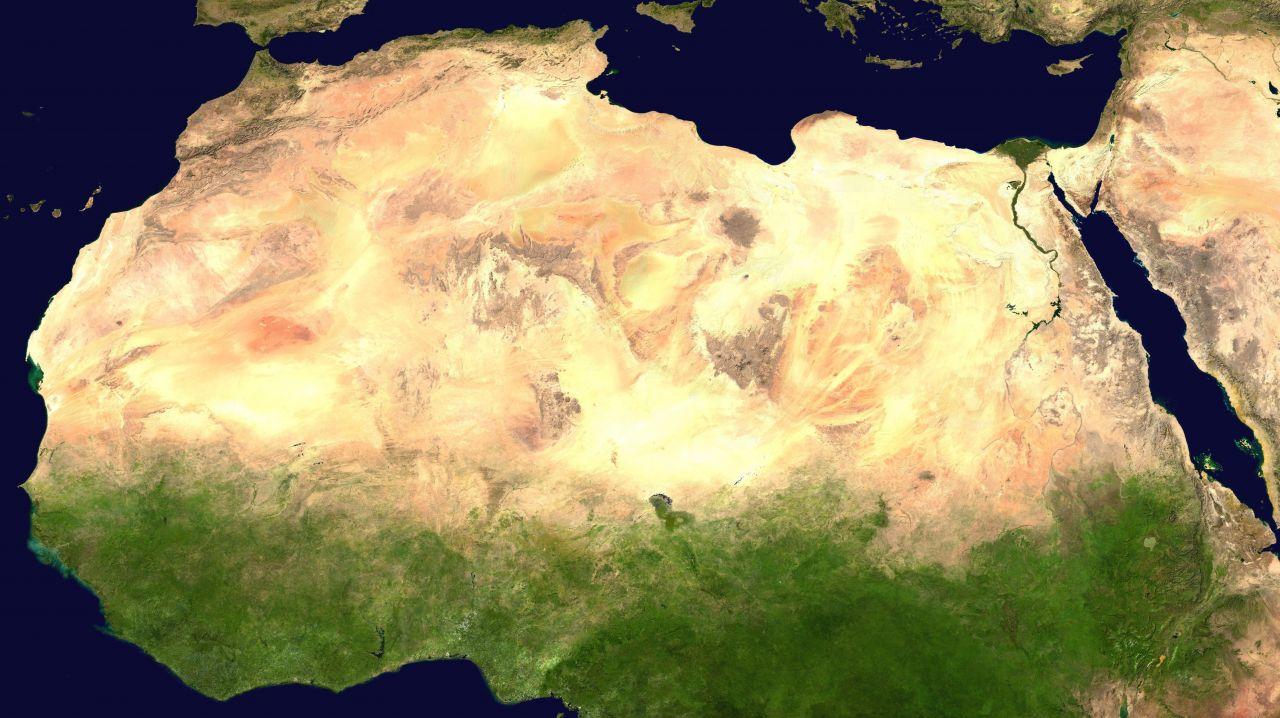 Die Sahara-Wüste aus dem All betrachtet.