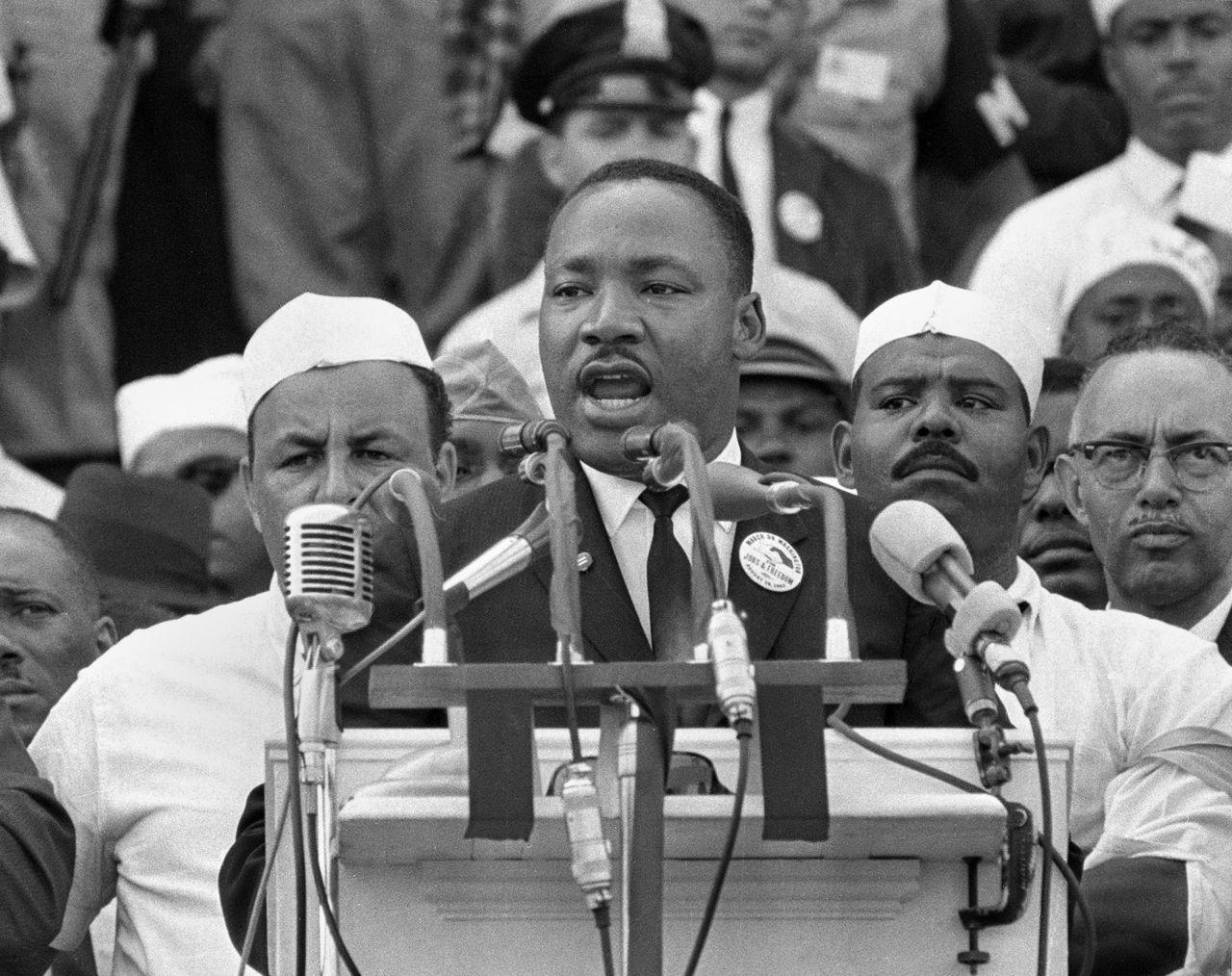 """Martin Luther King während seiner berühmtesten Rede: """"I have a dream""""."""